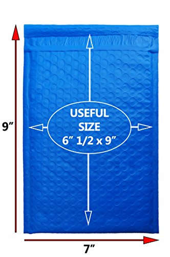 Premium Quality Blue poly Bubble Mailers. Pack of 20. Usable size 6 1/2 x 9 ( 6.5 x 9 ). Outside size 7 x 9 ( 7x9 ). Padded envelopes. - Usps Cost Next Shipping Day