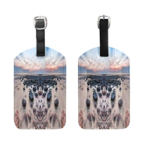 (Stylish Patterned Private Luggage Tag, leather name ID tag with privacy cover, bescribe - Slow shutter seascape when sun rising over)