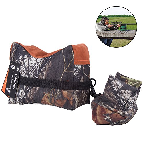 Target Shooting Bench (CyberDyer Camouflage Portable Shooting Sand Front Rear Rifle Target Rest Bag Bench Unfilled Stand Sandbags For Hunter Shooter (Oak Camouflage))