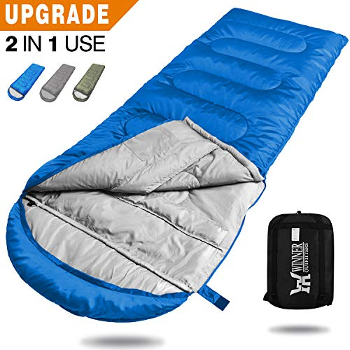 WINNER OUTFITTERS Camping Sleeping Bag, Portable Lightweight Rectangle/Mummy Backpacking Sleeping Bag with Compression Sack, 4 Season Sleeping Bags for Adults & Kids Camping Travel Summer Outdoor -