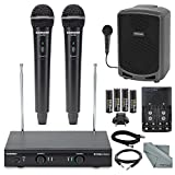Samson Stage 200 Dual-Channel Handheld VHF Wireless System (Channel D) Bundle with Samson Portable PA Speaker+Cables and FiberTique cloth