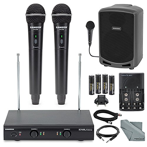 Samson Stage 200 Dual-Channel Handheld VHF Wireless System (Channel D) Bundle with Samson Portable PA Speaker+Cables and FiberTique cloth by Photo Savings