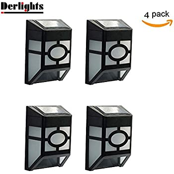 [Pack of 4] Derlights Waterproof Solar Powered LED Wall Light for Outdoor Landscape Garden Yard Lawn Fence Deck Roof Lighting Decoration