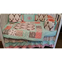 Amazon country rustic nursery bedding baby handmade products woodland 1 to 4 piece baby girl nursery crib bedding quilt bumper and bed sciox Image collections