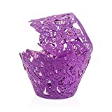 PAMISO Cupcake Holders (100pcs) Filigree Artistic Bake Cake Paper Cups Decor Wrapper Wraps Cupcake Muffin Paper Holders for Wedding Party Birthday(Butterfly) (purpel)