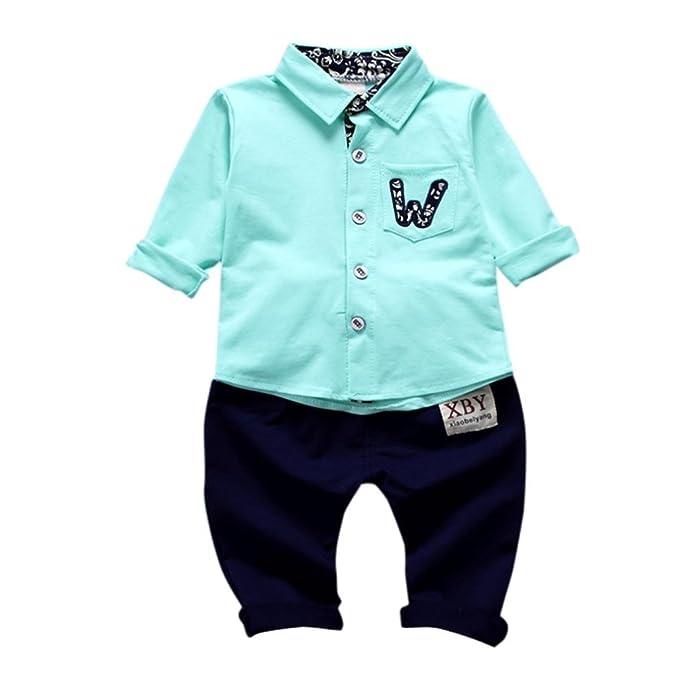 Yannerr 2pcs Bebé niño niña botón bolsillos camiseta tops+pantalones conjunto,Recién nacido manga
