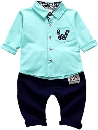 Yannerr 2pcs Bebé niño niña botón bolsillos camiseta tops+ ...