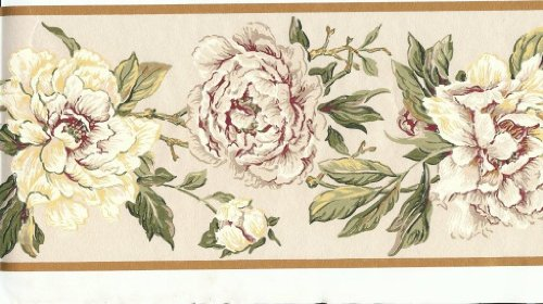 Wallpaper Border Magnolia and Rose Vine on Pearlized Cream (Pearlized Border)