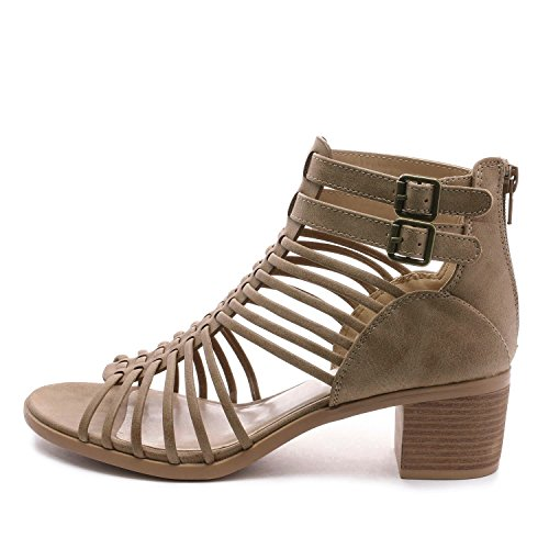 TOETOS Women's Ivy_02 Nude Fashion Block Heeled Sandals Size 11 B(M) US by TOETOS (Image #1)