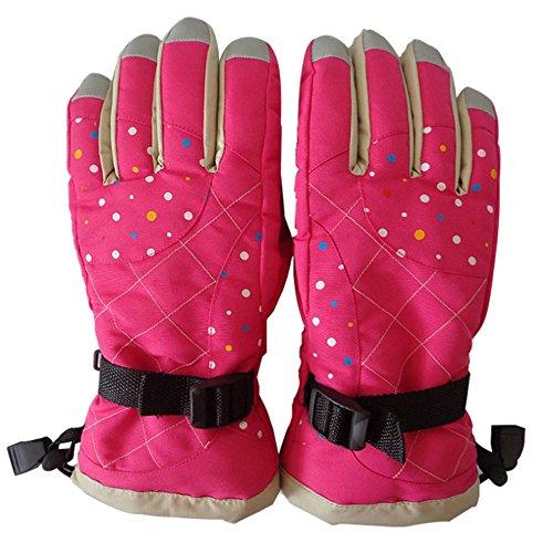 Klau Waterproof Women's Winter Skiing Warm Gloves Snowmobile Ski Mittens Full Finger Gloves Rose Red for Outdoor Sports Biking Riding