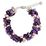 "NOVICA Pink Cultured Freshwater Pearl Amethyst Silver Plated Beaded Bracelet 7.75""  Gracious Lady"