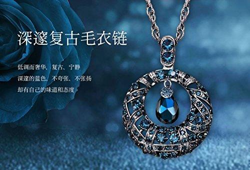 Generic s_deep_ Blue necklace Pendant necklace Pendant women girl Silver _Thai_ Retro white crystal Buddha _head_ amulet peace fall sweater women (Sier Head)