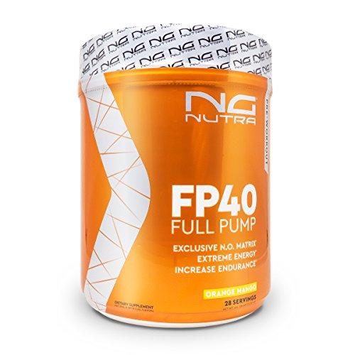 NG Nutra FP40 Full Pump, PreWorkout, Maximum Nitric Oxide Production, Hydration, Endurance and Energy, Sucralose Sweetened Orange Mango