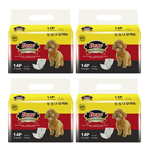DONO Disposable Male Wraps Dog Diapers Super Absorbent Soft Diapers for Male Dogs,with Wetness Indicator,56pcs,XS (6