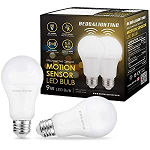 BECCALIGHTING Motion Sensor LED Light Bulb 9W for Indoor Lighting Fixtures Microwave Motion Activated Garage Basement…