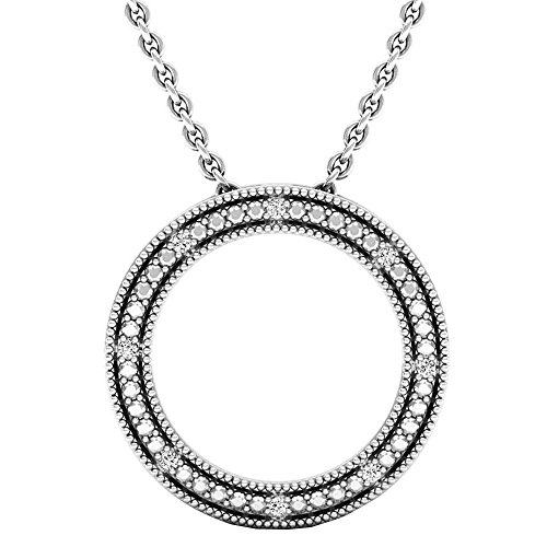 Dazzlingrock Collection 0.03 Carat (ctw) Round Cut Diamond Ladies Circle Pendant (Silver Chain Included), Sterling Silver
