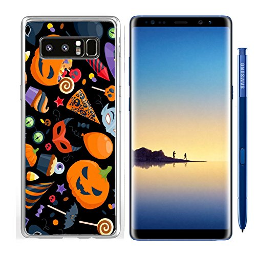 Luxlady Samsung Galaxy Note8 Clear case Soft TPU Rubber Silicone IMAGE ID: 44139631 Halloween party colorful seamless pattern vector illustration Magic hat sweets masks (Original Silicone Halloween Mask)