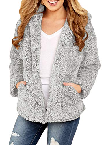 (Dokotoo Womens Solid Loose Open Front Zip Down Long Sleeve Chunky Warm Fashion Fleece Sweater Hooded Jacket Coat Outerwear Cardigans Grey)
