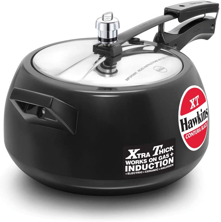 Hawkins CXT50 Contura Hard Anodized Induction Compatible Extra Thick Base Pressure Cooker, Black, 5L, 5 L
