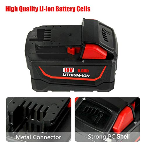 2Pack 6000mAh 18V m18 for Milwaukee Replacement Battery, High Capacity Lithium-ion Battery for Milwaukee M18 48-11-1820 48-11-1850 48-11-1860 48-11-1828 48-11-10