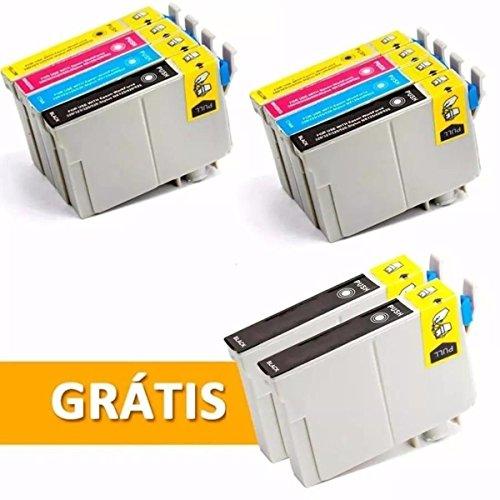 Kit 10 Cartuchos T1351 1332 1333 1334 Preto e Colorido Compatível Novo T25 Tx123 125 133