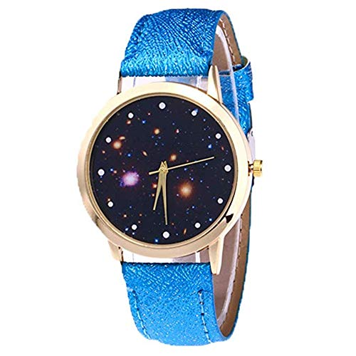 FAVOT 2019 Women Quartz Watch Fantasy Starry Round Dial Shiny Leather Strap Student Casual Watch (Blue)