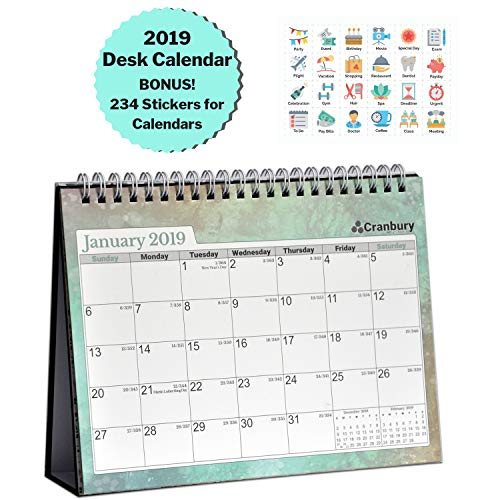Cranbury Small Desk Calendar 2019 Monthly: Flip Desktop Counter Top Calendars with Bonus Planner Stickers for Family and Office, 8''x6'' (Colorful), Sturdy, USE Now Through December 2019 by Cranbury