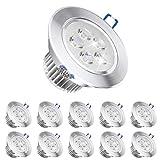Pack of 10,Pocketman 220V 5W LED Recessed Ceiling Light Downlights Spotlight,Cool White,450-500 Lumen(Equivalent 50W)