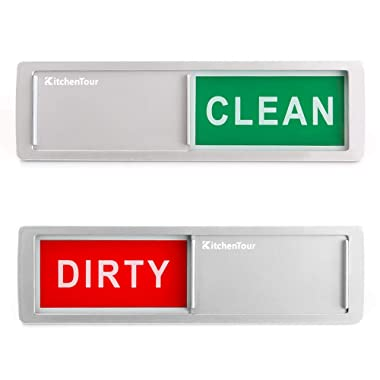 KitchenTour Clean Dirty Magnet for Dishwasher Upgrade Super Strong Magnet Version - Easy to Read Non-Scratch Magnetic Silver Indicator Sign with Clear, Bold & Colored Text