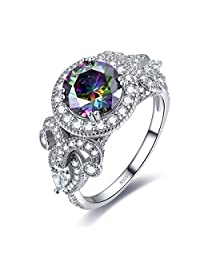 Merthus 925 Sterling Silver Created Blue Sapphire Halo Engagement Ring for Women