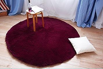 Super Soft Shaggy Rugs Round Area Modern Shag Burgundy Carpet Living Room Bedroom Rug