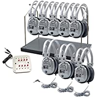 Hamilton Buhl Listening Center, 8 Station Jackbox with Volume, Deluxe Headphones with Storage Rack