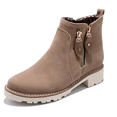 Toe Comfort Urethane Closed Womens Road Road Urethane Heel MNS02681 Round Toe Hard Zip Boots Ground 1TO9 Boots Kitten Beige zWHnztP