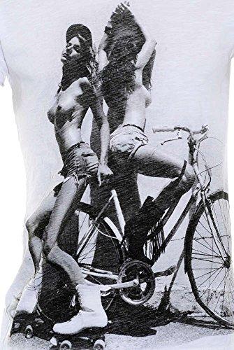 Redrum T-Shirt kurzarm Herren weiss frauen Druck 100% Baumwolle V-ausschnitt normal cut BF-103
