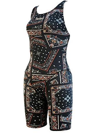 Jaked Girls Halter Neck Bandana Swimming Costume Blackorange