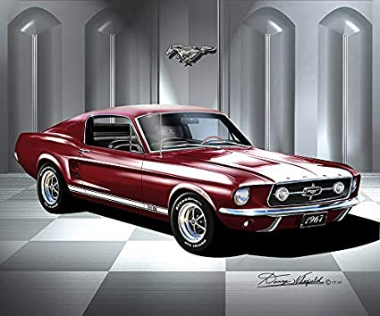 Ford Mustang Fastback >> Amazon Com 1967 Mustang Fastback Vintage Burgundy Fine
