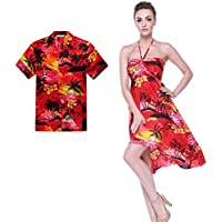 5ba2a83c Couple Matching Hawaiian Luau Party Outfit Set Shirt Dress in Sunset Red