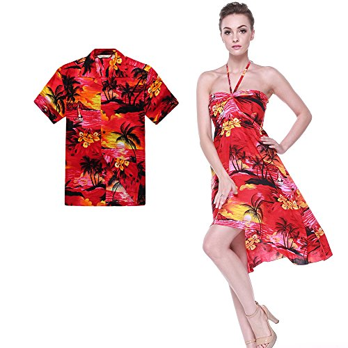 Couple Matching Hawaiian Luau Party Outfit Set Shirt Dress in Sunset Red Men L Women S (Couples Outfit)