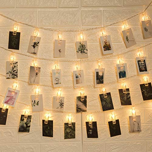 GIGALUMI 50LED Photo Clips String Lights,Indoor Fairy String Lights for Hanging Photos Pictures Cards and Memos,Great for Home Decor - Postcards Cute Package