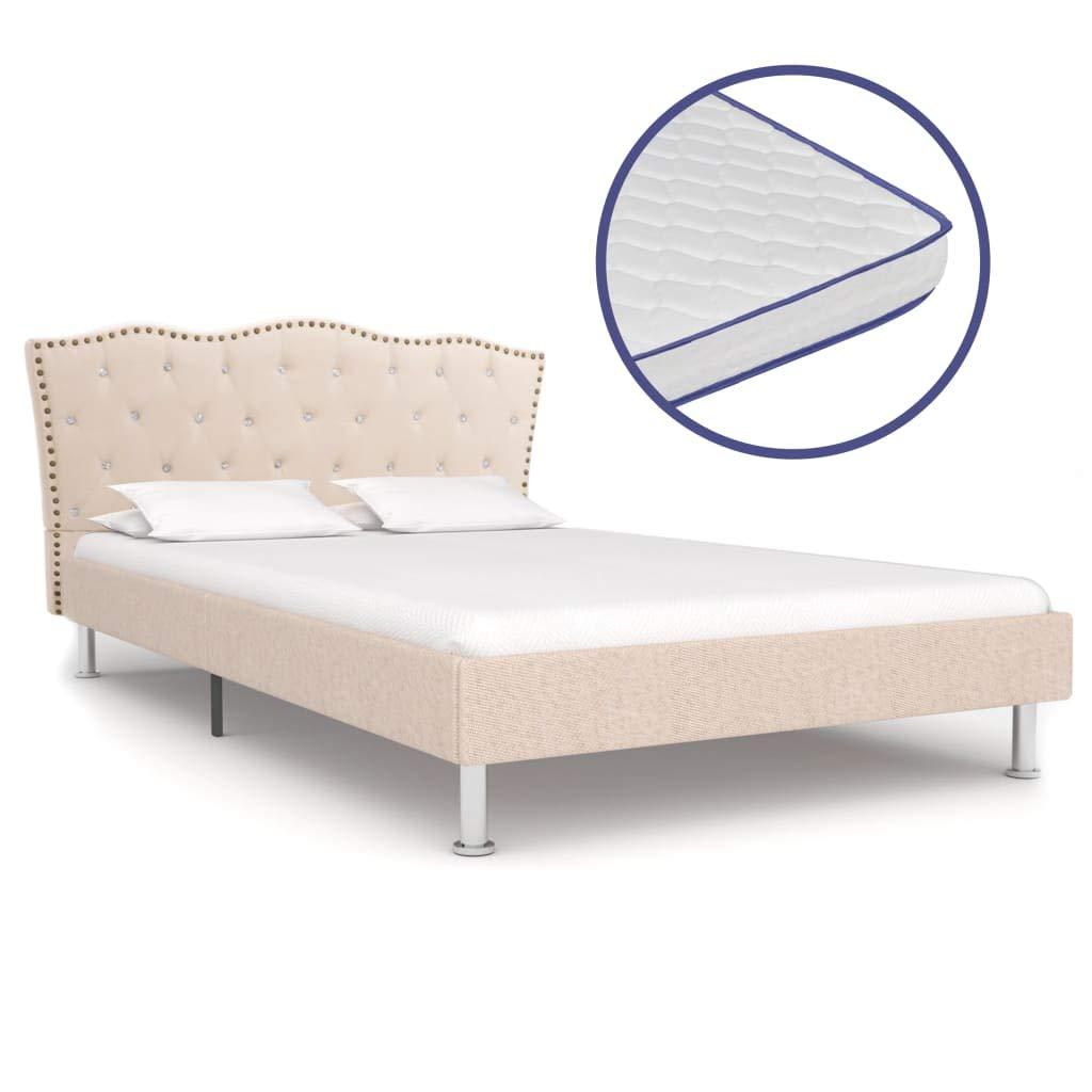 vidaXL Bett mit Memory-Schaum-Matratze Polsterbett Stoffbett Doppelbett Schlafzimmerbett Bettgestell Bettrahmen Lattenrost Beige Stoff 140x200cm