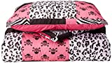 Veratex Stylish Pink Skulls Youth Micro-Fiber Fabric Patterned Bedroom Bed-In-A-Bag, Twin Size, Pink/Black/White
