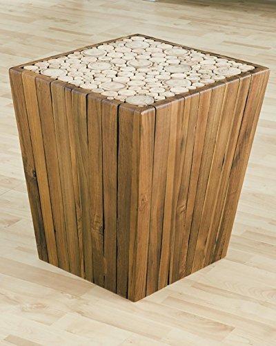 GROOVYSTUFF TF-0962 Eucalyptus Pyramid Side Table Stool, Natural Finish ()