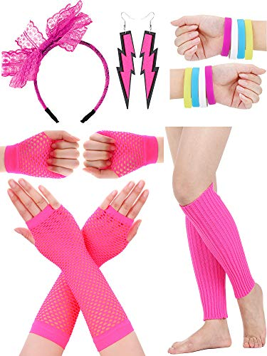 SATINIOR Women 80s Accessories, Headband, Neon Earrings, Fishnet Gloves, and Leg Glove for Halloween Cosplay (Set ()