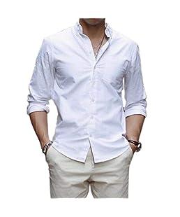 Mens Slim Fit Shirt Luxury Fashion Long Sleeve Dress Shirts Casual Shirt Tops (White, S)