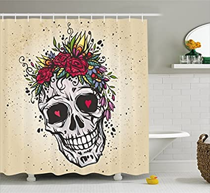 RHATTOWN Skull Shower Curtain Set Rings Round Human With Wreath