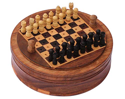 SouvNear Mini Wooden Chess Set With Easy Disposal Mechanism Of Defeated Pieces For Travel Convenience 5 Inch Round Chess Board (Chess Set Mini Wooden)