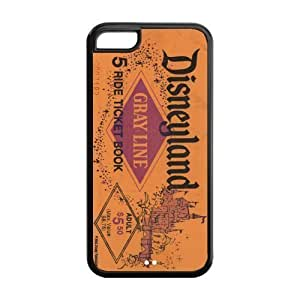 Disneyland Ticket, Rubber Phone Cover Case For iPhone 5c, iphone 5c Cases, Black / White