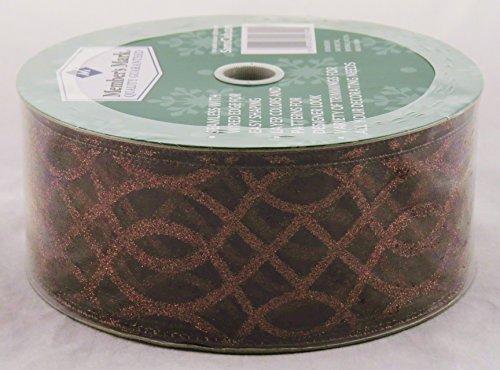 50 Yard X 2.5 Inch Wired Edge Designer Ribbon - Chocolate Brown Sparkle