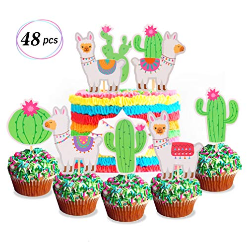 Yaaaaasss! Llama Cupcake Topper Cactus Cake Decor Mexican Fiesta Cinco De Mayo Party Decor Baby Shower Birthday Party Supplies 48pcs