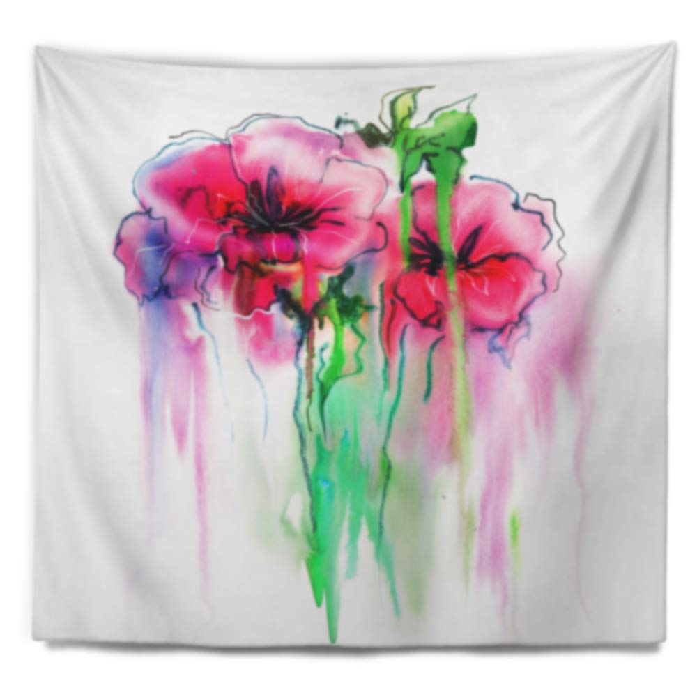 39 in Medium x 32 in Designart TAP14993-39-32 Colorful Hand Drawn Red Flowers Floral Blanket D/écor Art for Home and Office Wall Tapestry